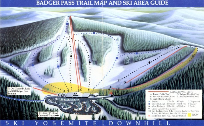 Yosemite-Badger Pass Ski Area Piste / Trail Map