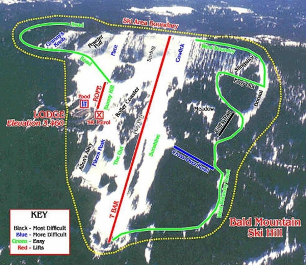Bald Mountain Piste / Trail Map