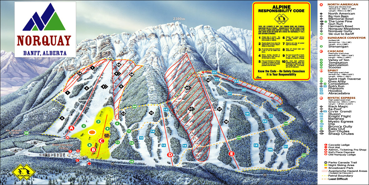Banff Mt Norquay Piste / Trail Map