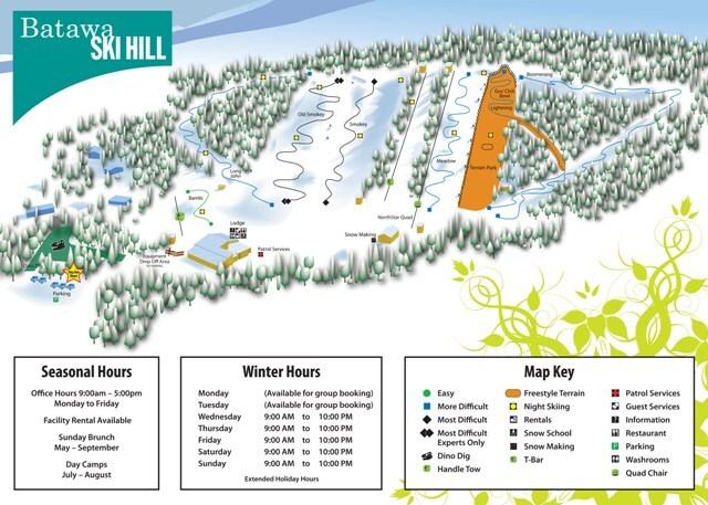 Batawa Ski Hill Piste / Trail Map