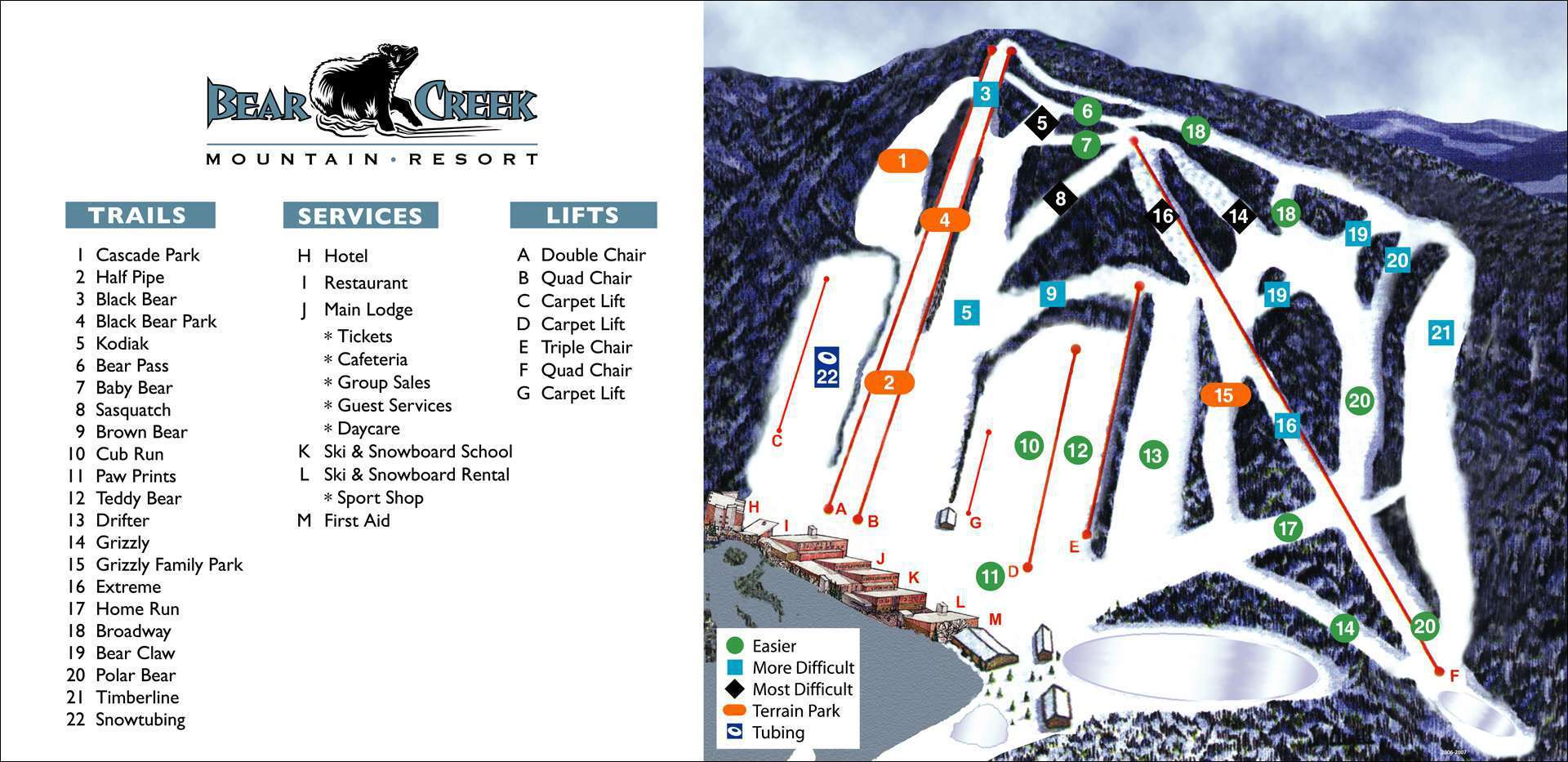 Bear Creek Ski Area Piste / Trail Map