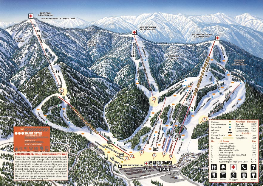 Bear Mountain Piste / Trail Map