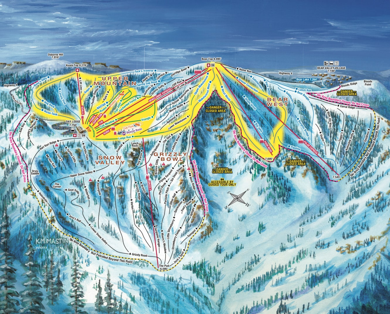 Bear Valley Piste / Trail Map