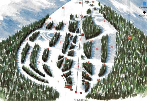Bear Paw Ski Bowl Piste / Trail Map