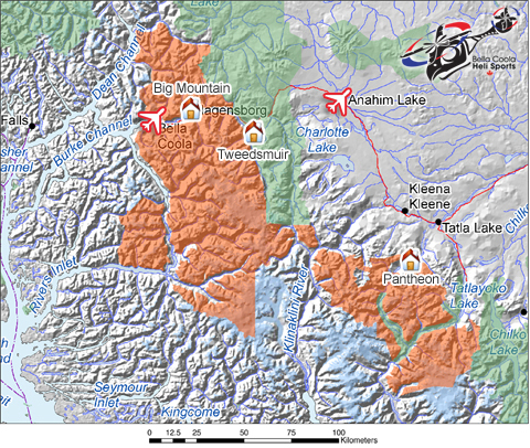 Bella Coola Heli Sports-Tweedsmuir Park Lodge Piste / Trail Map