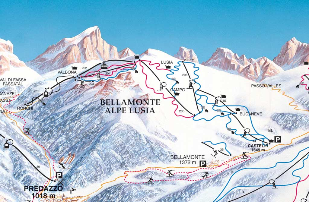 Ski Area Alpe Lusia Piste / Trail Map