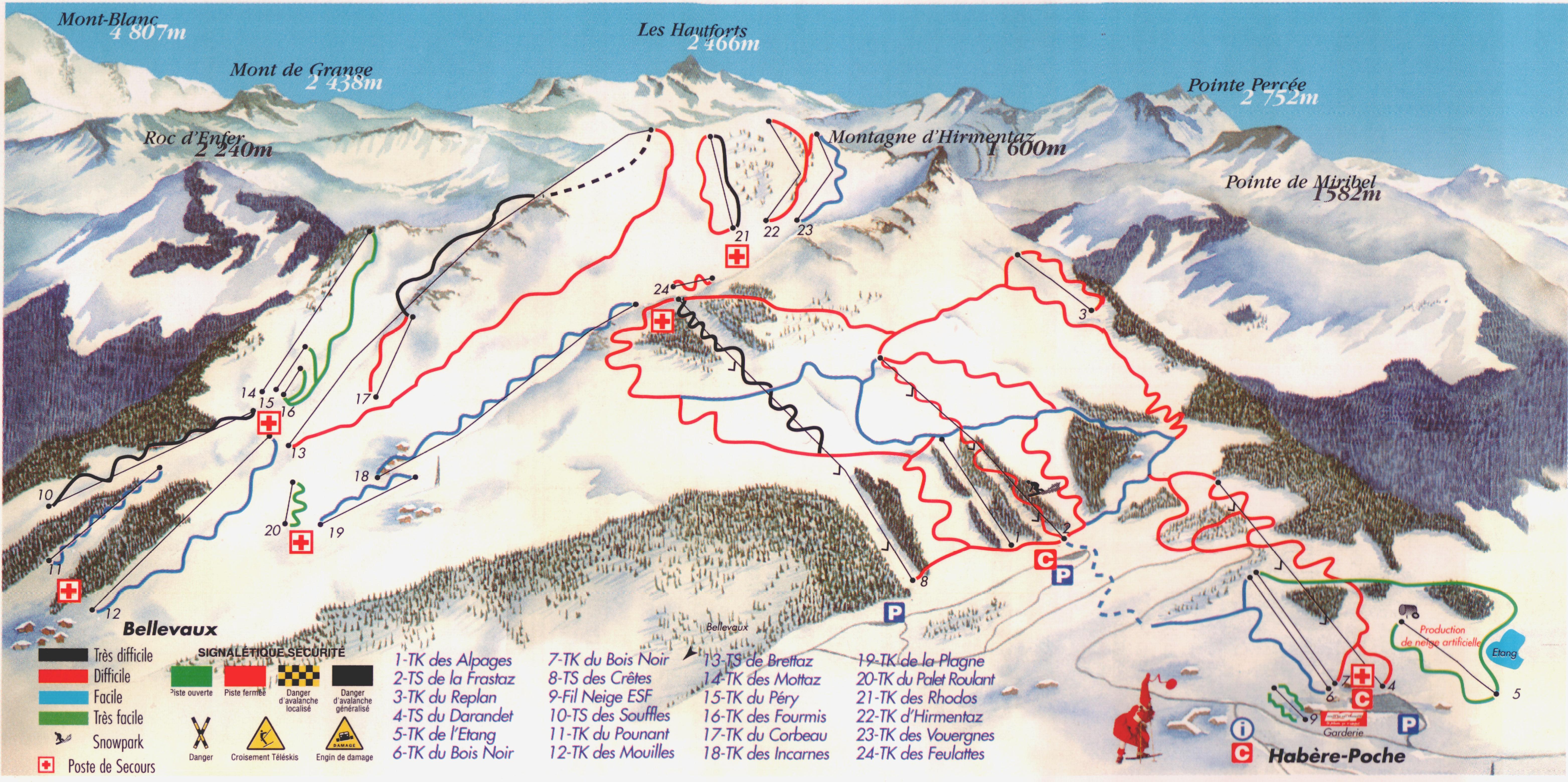 Bellevaux Piste / Trail Map