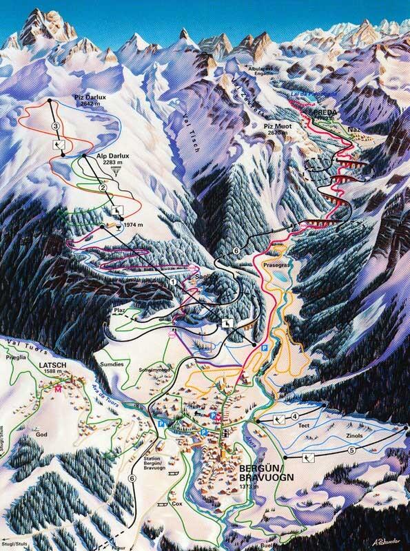 Bergün / Bravuogn Piste / Trail Map