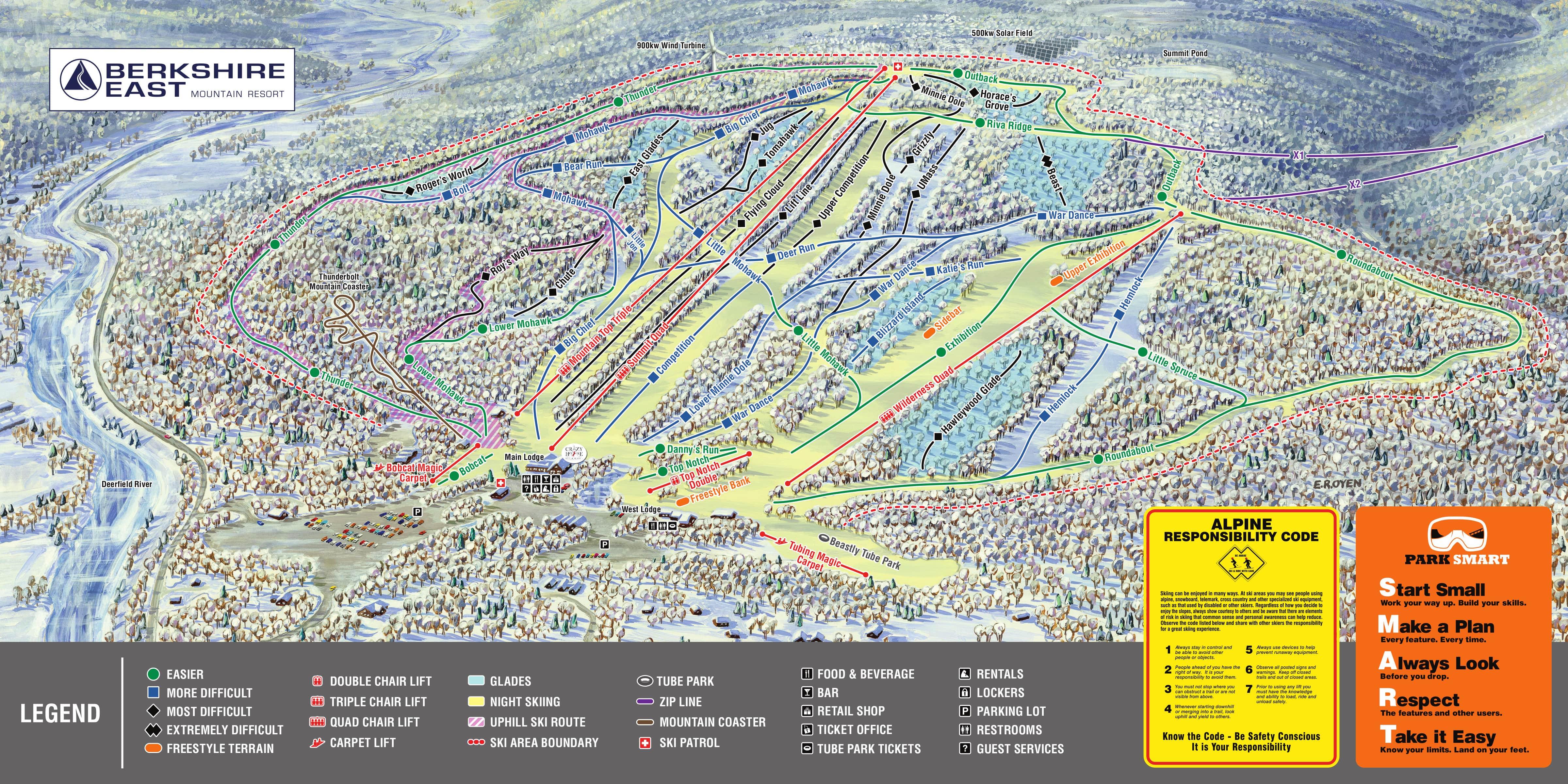 Berkshire East Piste / Trail Map