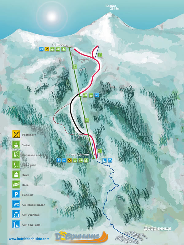 Bezbog Ski Centre Piste / Trail Map
