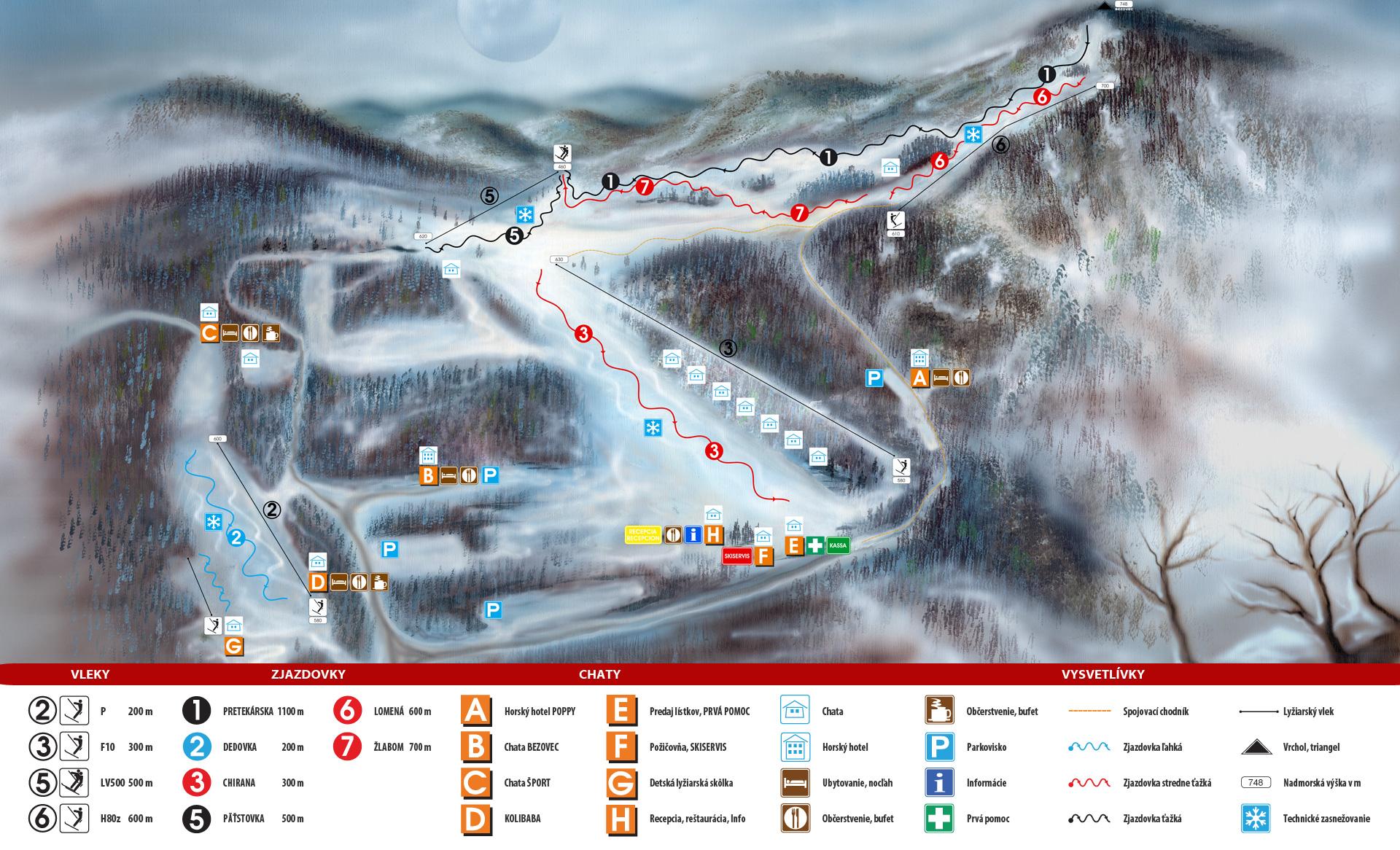 Bezovec Piste / Trail Map