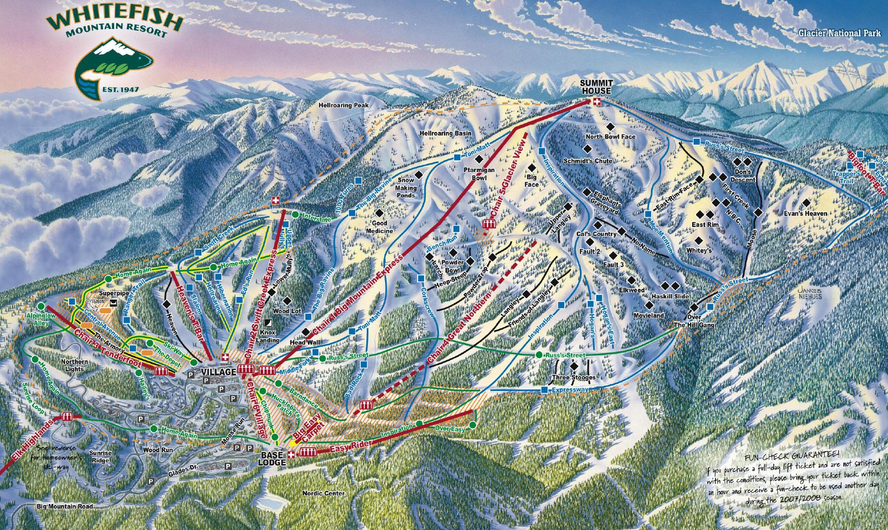 whitefish mountain resort piste map / trail map