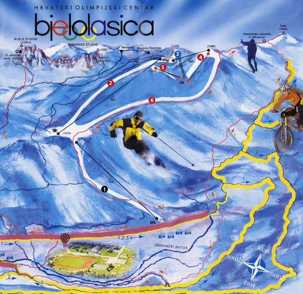 Bjelolasica Piste / Trail Map