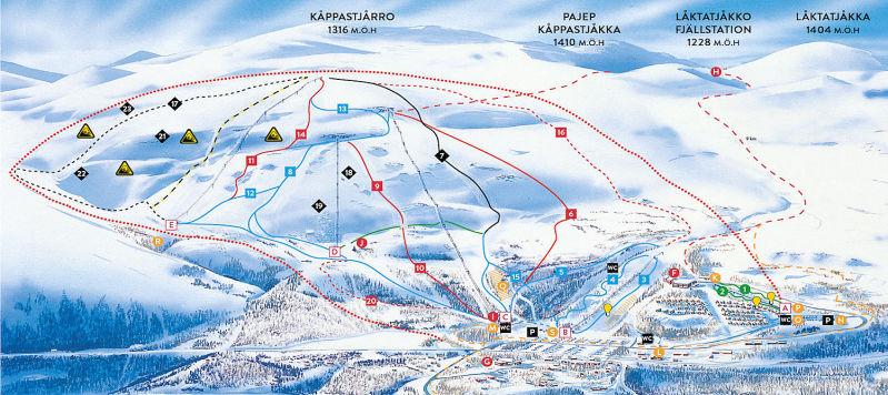 Björkliden Piste / Trail Map