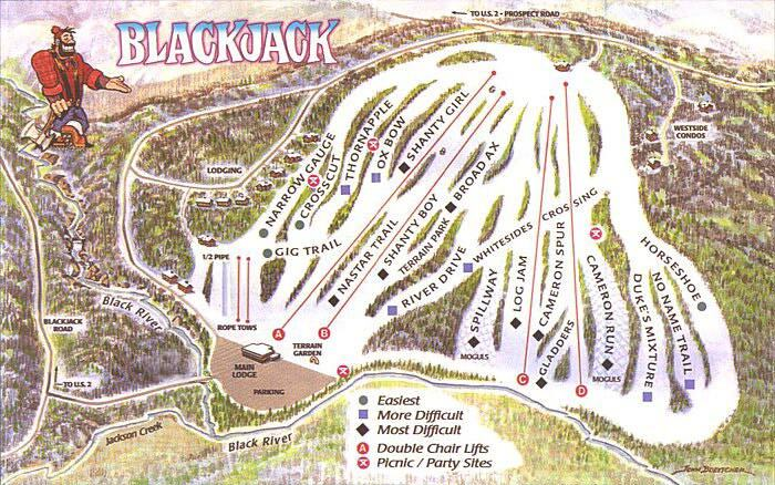 Blackjack Ski Area Piste / Trail Map