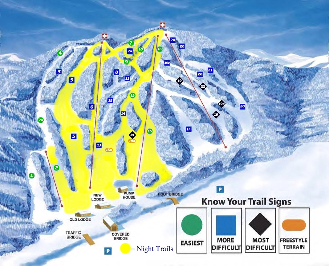 Blandford Ski Area Piste / Trail Map
