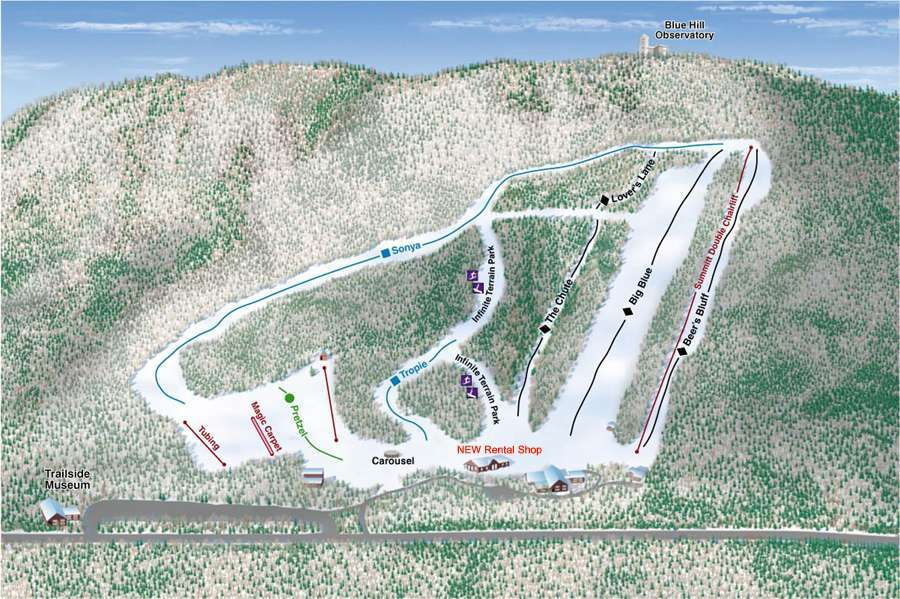 Blue Hills Piste / Trail Map