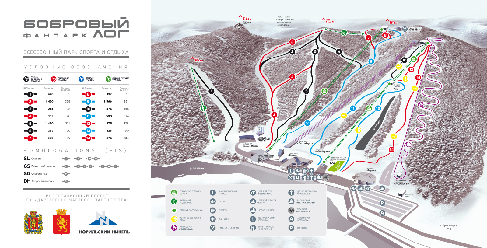 Bobrovy Log Resort-Krasnoyarsk Piste / Trail Map