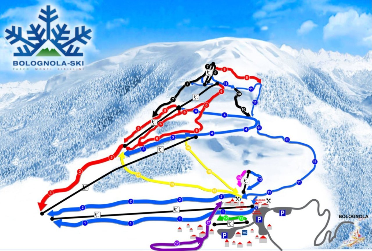 Bolognola-Ski Piste / Trail Map