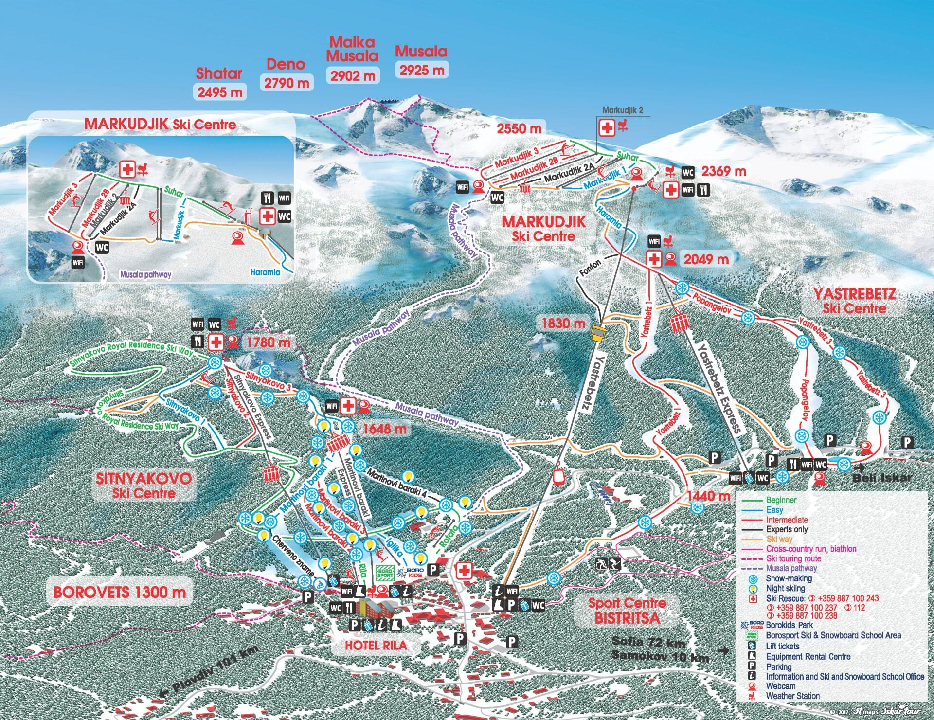 Borovets Ski Map Borovets Piste Map / Trail Map Borovets Ski Map