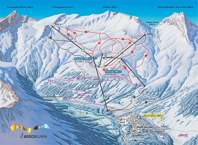Bosco Gurin Piste / Trail Map