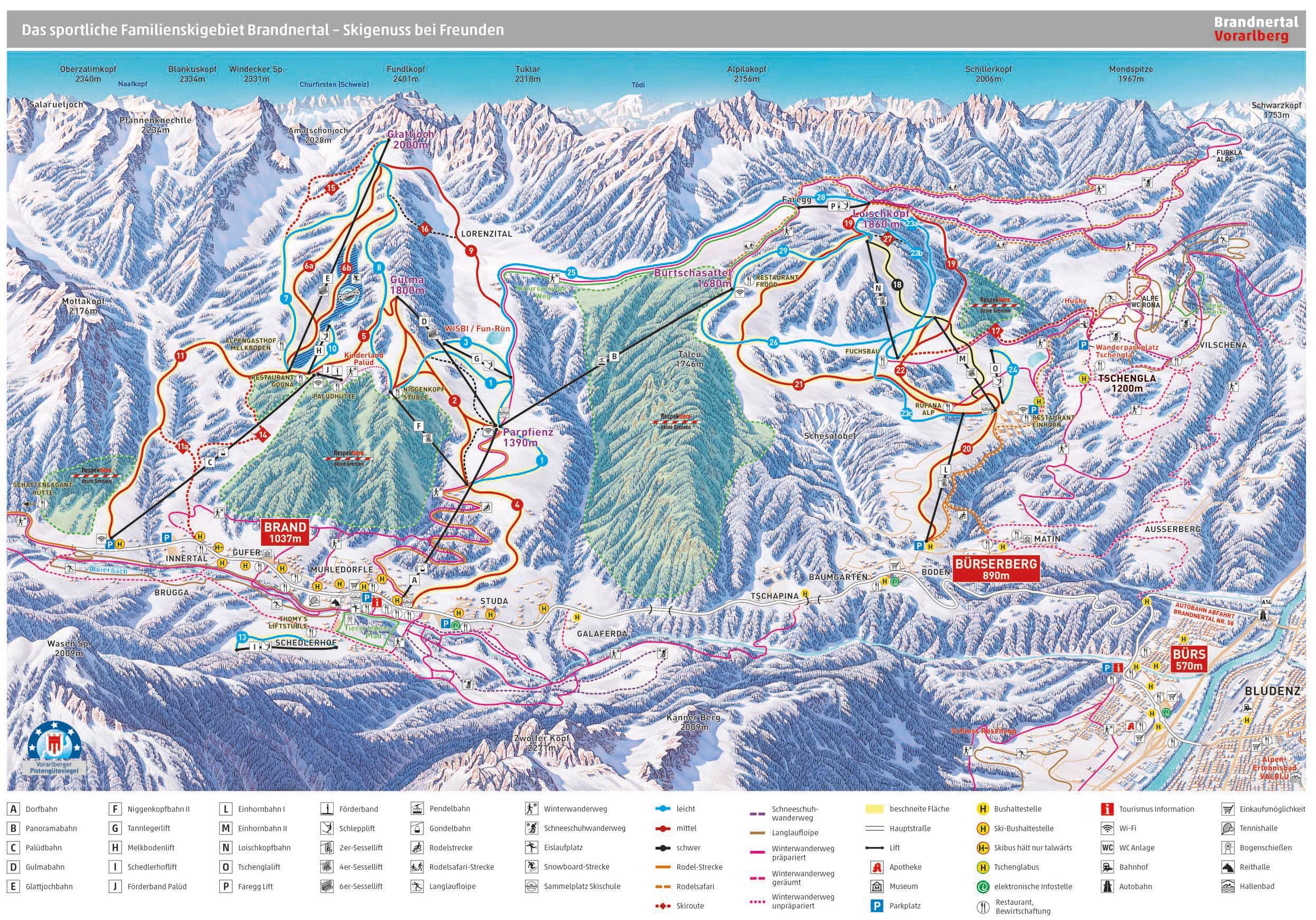 Brandnertal (Brand und Bürserberg) Piste / Trail Map