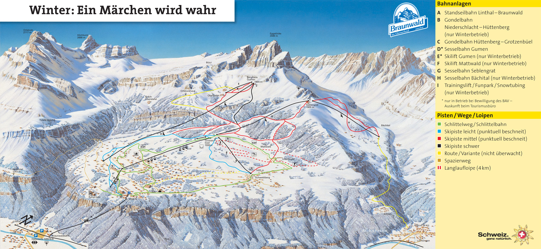 Braunwald Piste / Trail Map