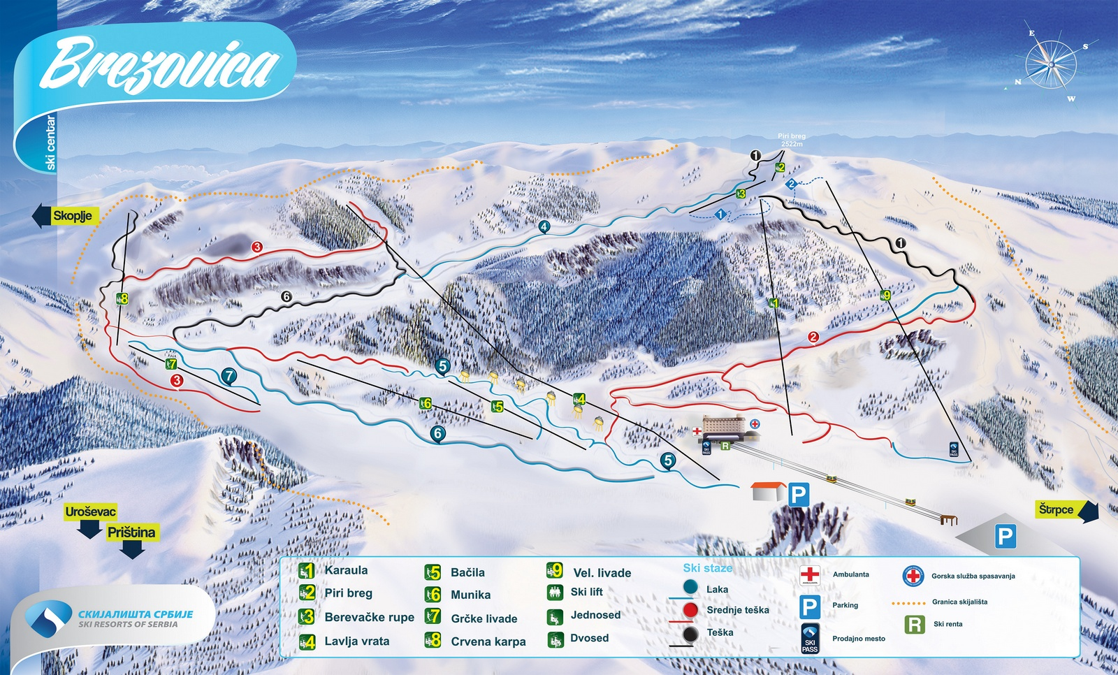 Brezovica Piste / Trail Map