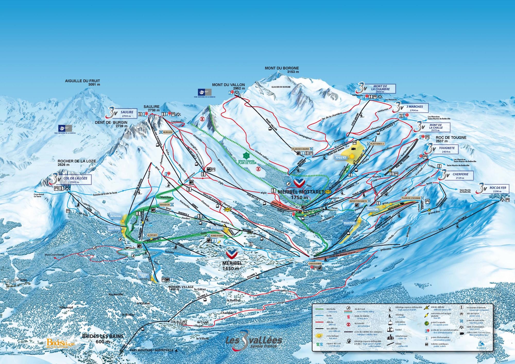 Brides Les Bains Piste / Trail Map