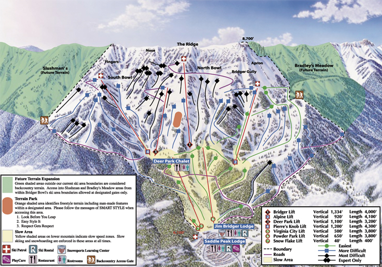 Ski Virginia Map.Bridger Bowl Piste Map Trail Map