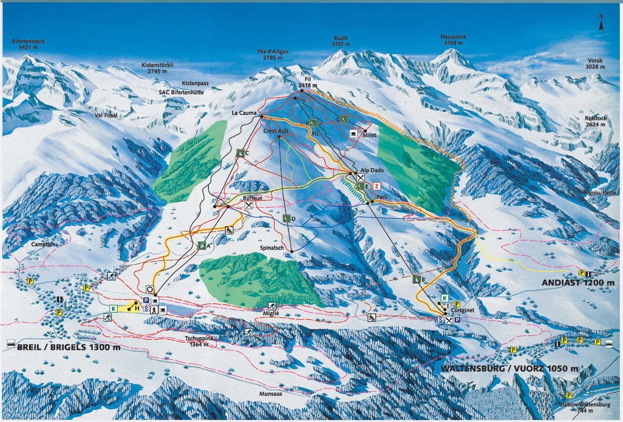 Brigels-Waltensburg-Andiast Piste / Trail Map