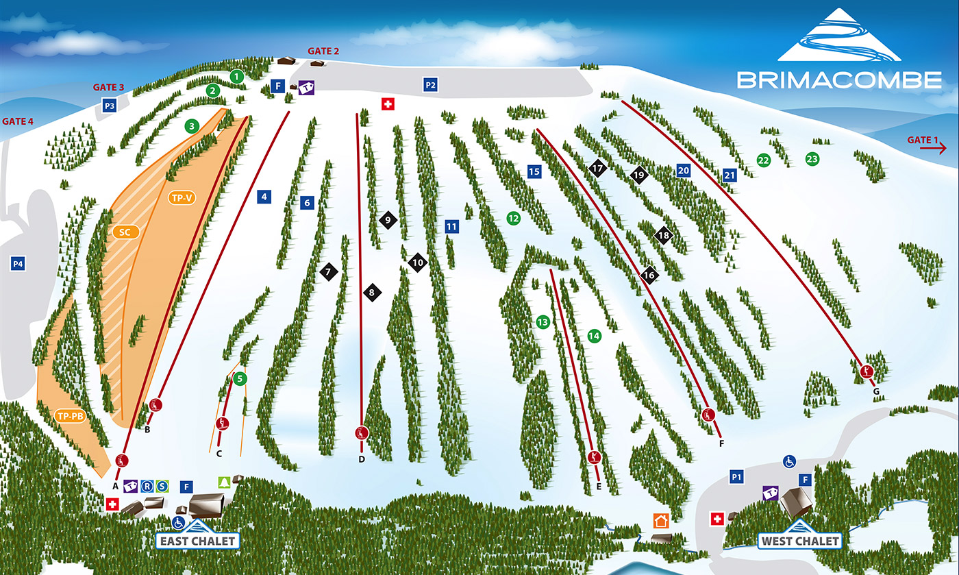 Brimacombe Piste / Trail Map