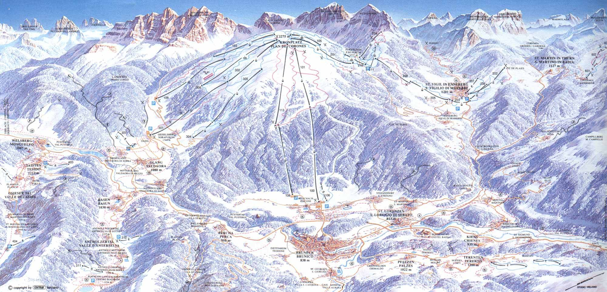 BruneckOlangSt Vigil Piste Map Trail Map