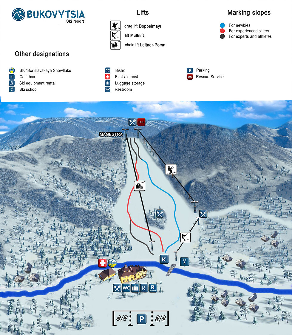 Bukovytsia Ski Area Piste / Trail Map