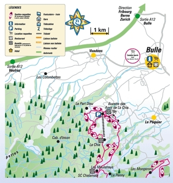 Bulle - La Chia Piste / Trail Map