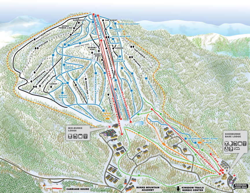 Burke Mountain Piste / Trail Map