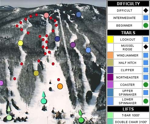 Camden Snow Bowl Piste / Trail Map