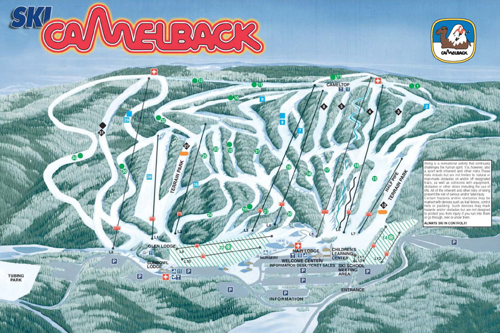 Camelback Ski Area Piste / Trail Map