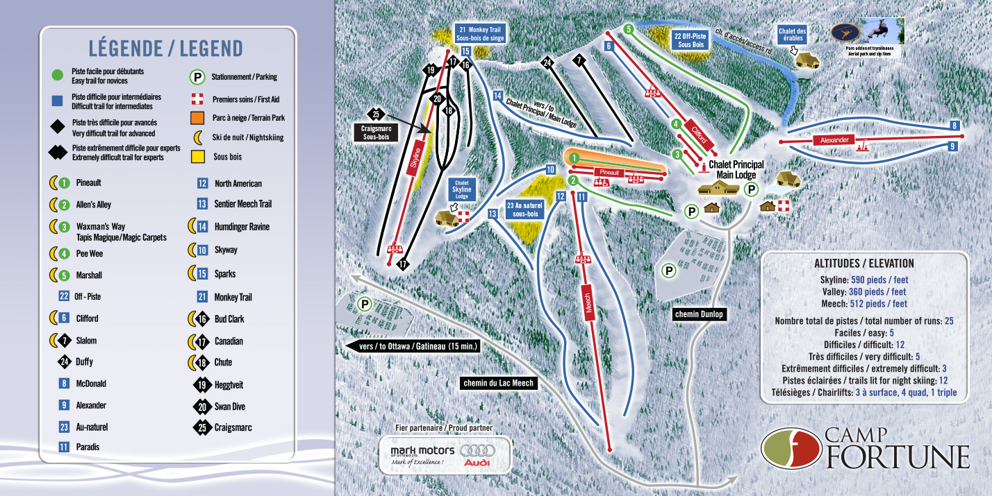 Camp Fortune Piste / Trail Map