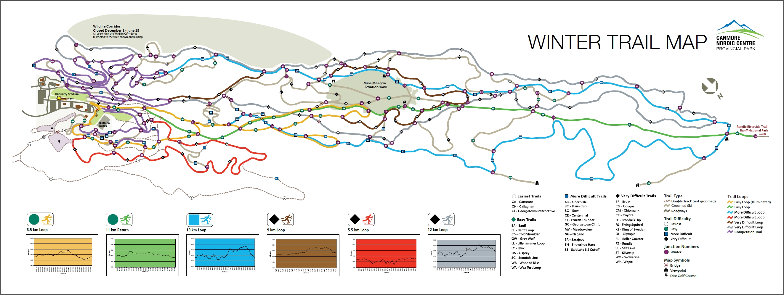 Canmore Nordic Centre Piste / Trail Map