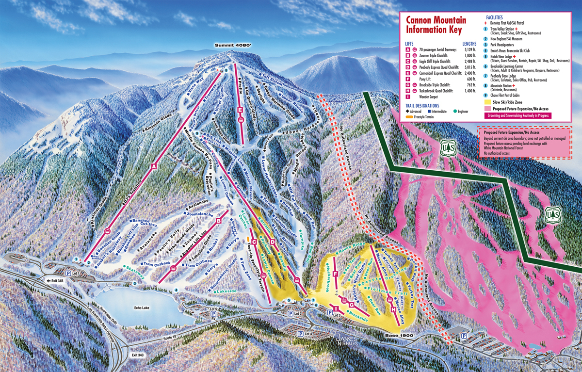 Cannon Mountain Piste / Trail Map