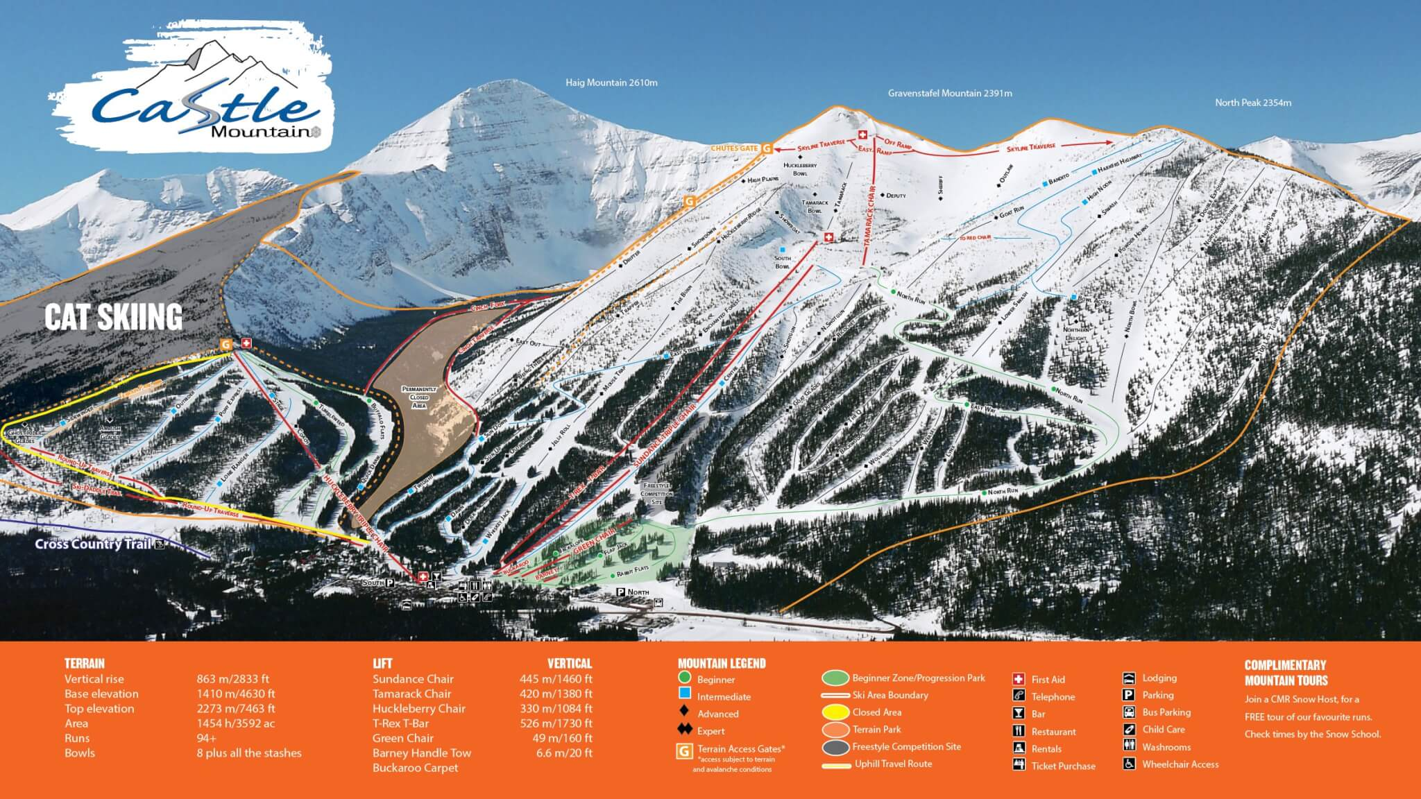 Castle Mountain Resort Piste Map / Trail Map