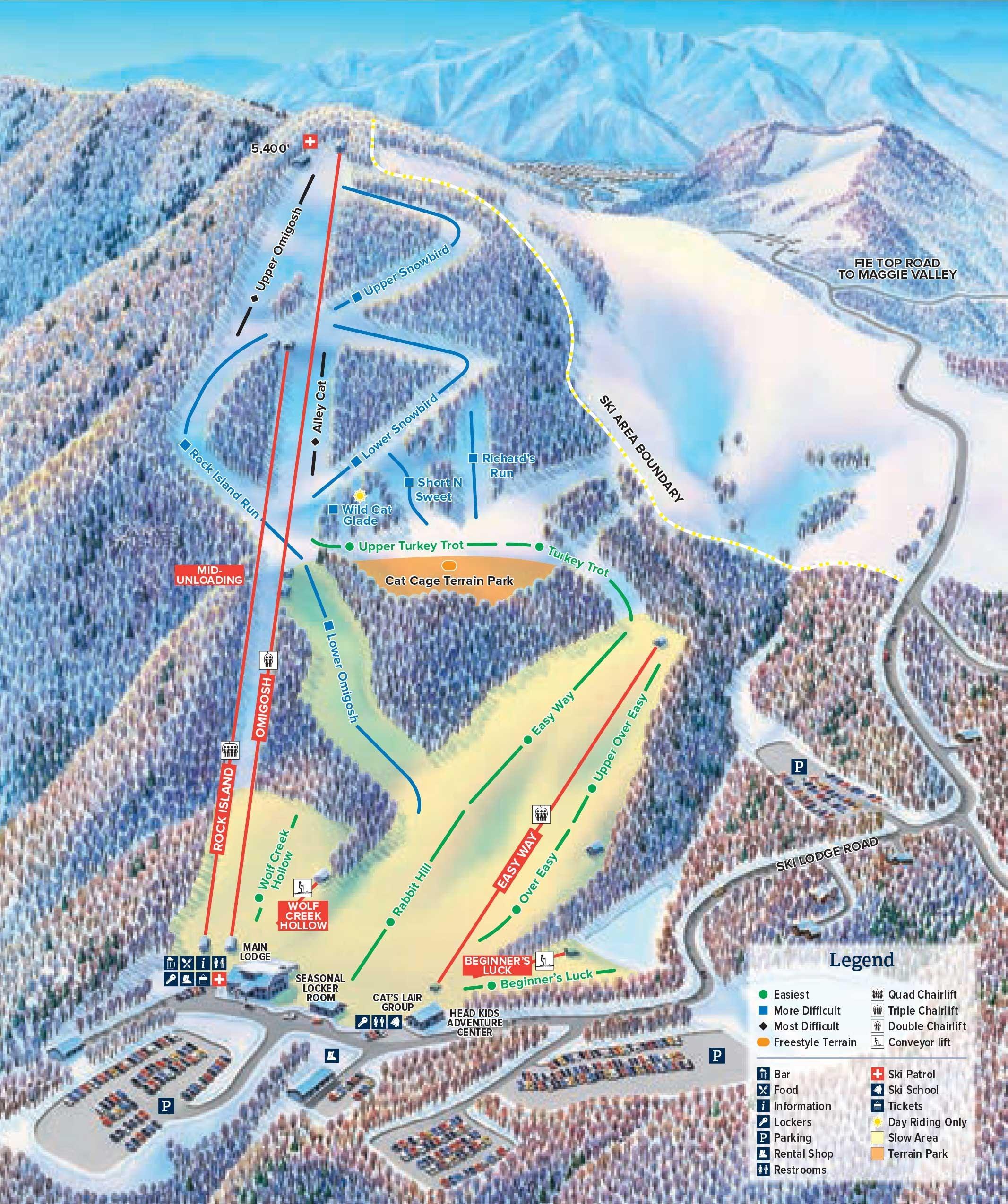 Cataloochee Piste / Trail Map