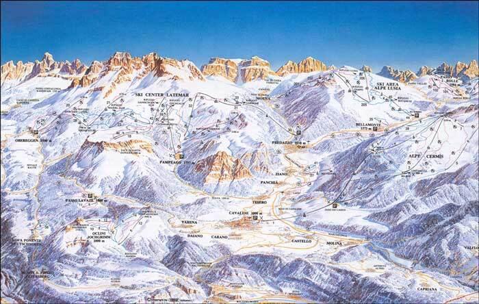 Alpe Cermis-Cavalese Piste / Trail Map