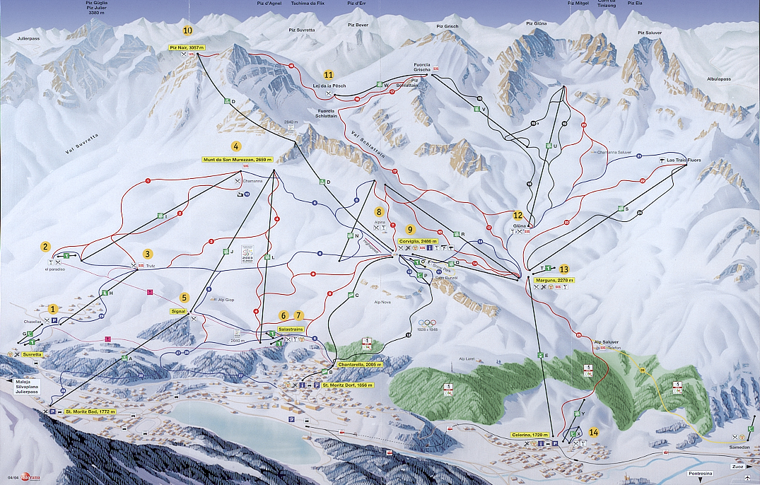Celerina/Engadin Piste / Trail Map