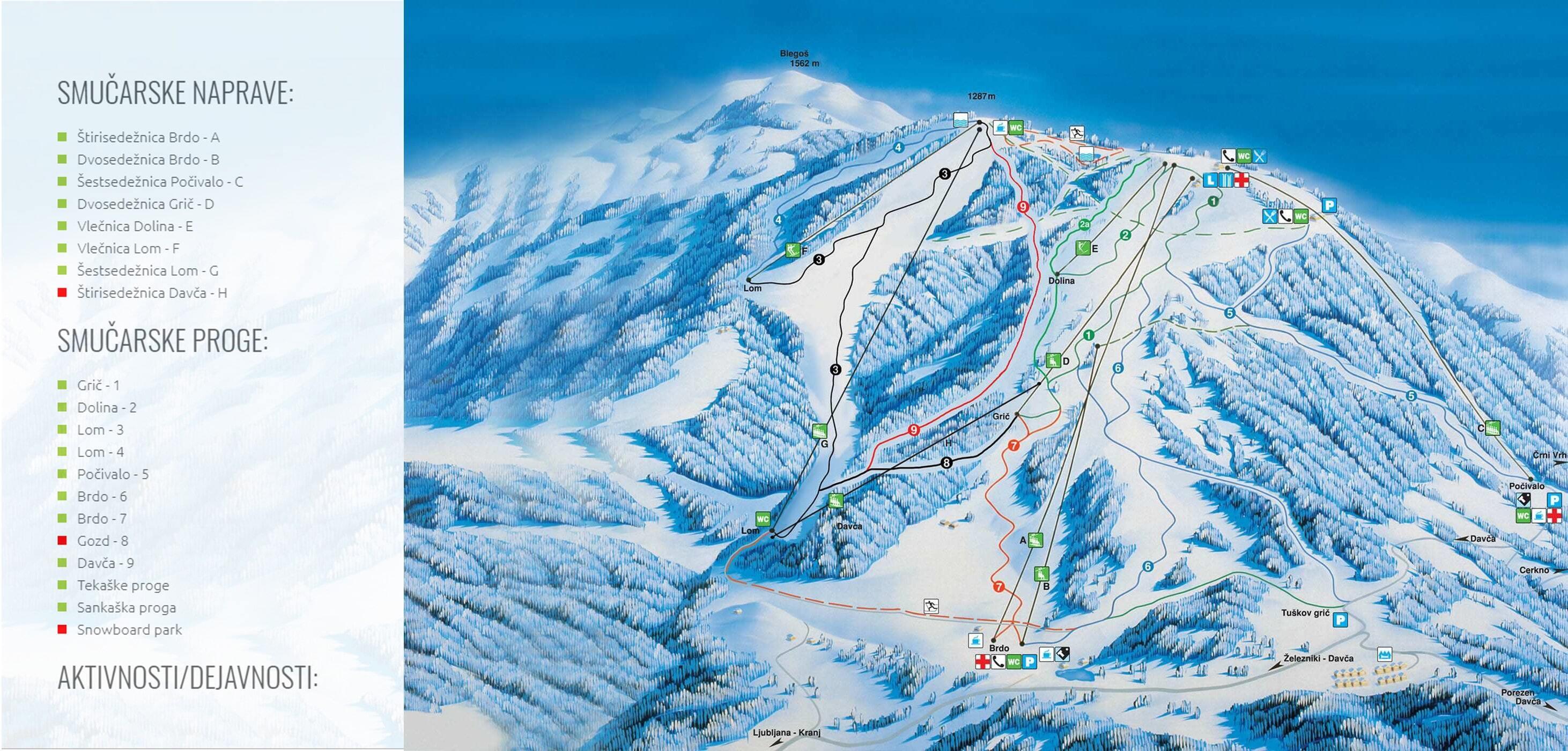 Cerkno Piste / Trail Map