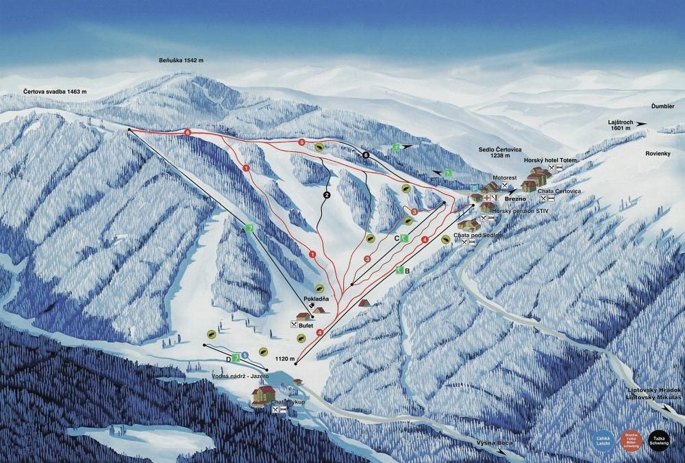 Čertovica Piste / Trail Map