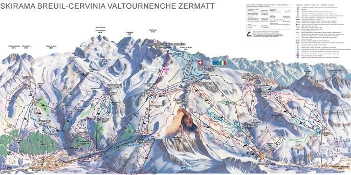 Breuil-Cervinia Valtournenche Piste / Trail Map