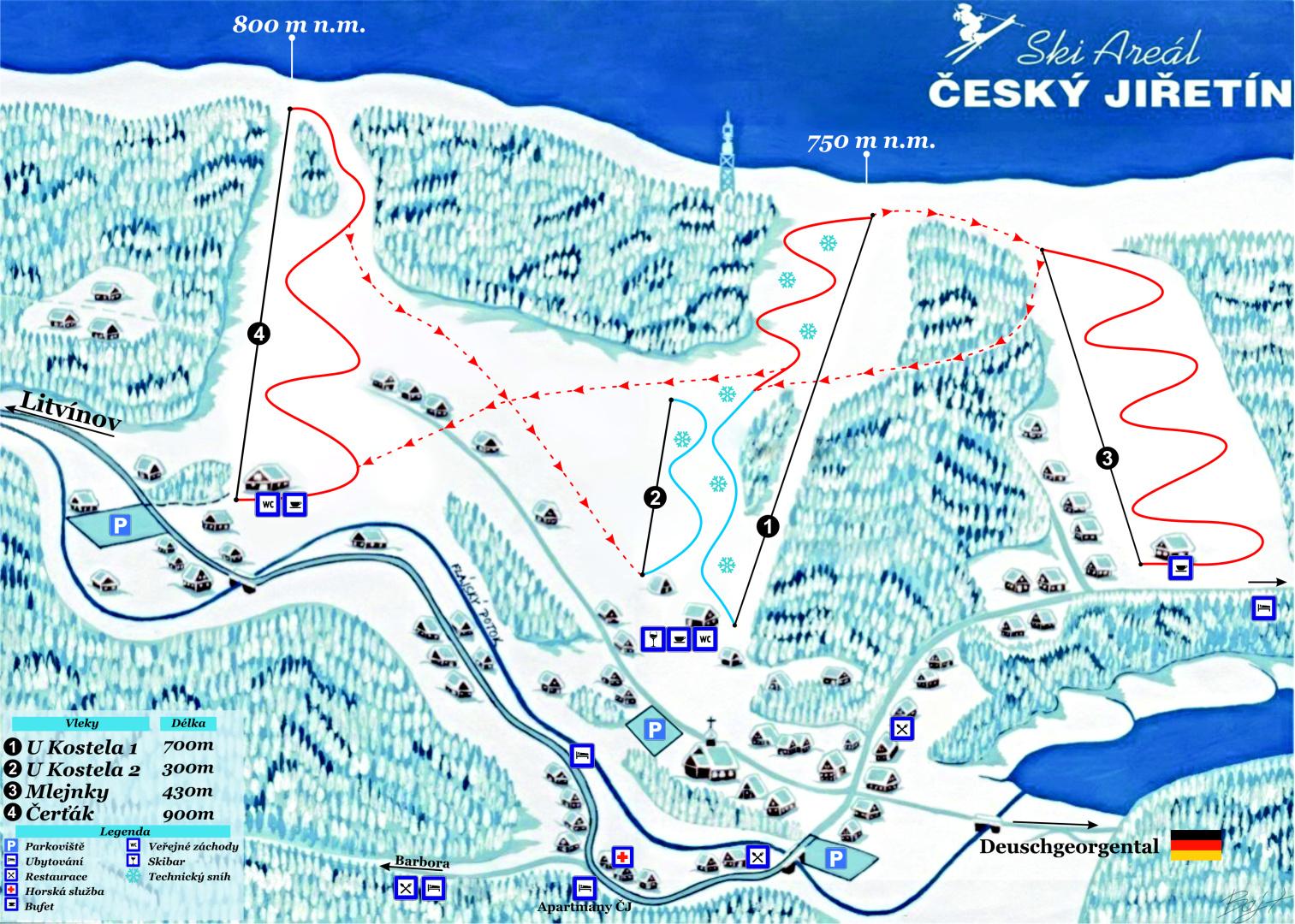 Český Jiřetín Piste / Trail Map