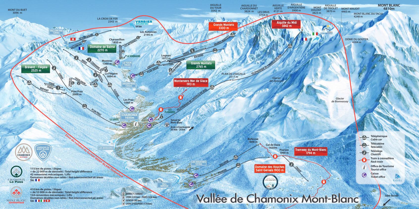 Chamonix Piste Map Trail Map